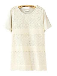 Damen Solide Einfach Lässig/Alltäglich T-shirt,Rundhalsausschnitt Frühling / Sommer Kurzarm Weiß Dünn