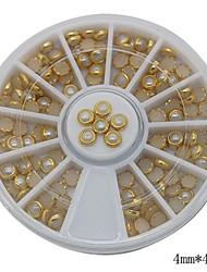 100pcs blanco perla decoración del arte del clavo de la rueda de metal lipping