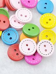 coloré album scraft coudre des boutons en bois de bricolage (10 pièces couleur aléatoire)