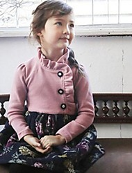 Girl's Korean Version Of The Long-Sleeved Cotton Print Dress