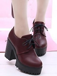 Women's Spring / Fall Heels / Platform / Round Toe / Closed Toe Leatherette Dress Chunky Heel Lace-up Black / Burgundy