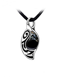 Stainless Steel With Black Agate Stone Men's Necklace