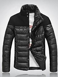 Men's Regular Parka Coat Striped/Pure Long Sleeve