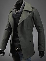 Y&ZY Men's Single-Breasted Wool Coat