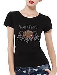 manches courtes strass personnalisé t-shirts de football maman modèle coton pour femmes