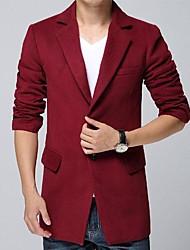Herren Blazer-Einfarbig Freizeit Baumwolle / Baumwollmischung / Tweed Lang Rot