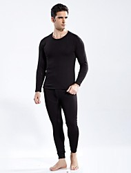 Men's Comfortable Breathable Solid Color Round Collar Thermal Underwear Set