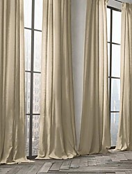 Modern Two Panels Solid Earth Living Room Linen  Cotton Blend Panel Curtains Drapes