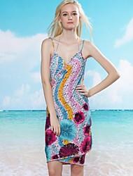 Women's Sexy Wavy Series Print Halter Wrap Beach Cover-Up Dress