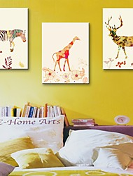 Stretched Canvas Art Decorative Animal Watercolor Painting Set of 3