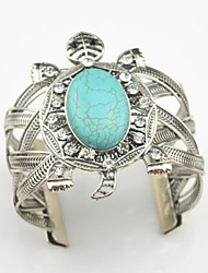 Toonykelly Female Vintage Antique Silver Plated Turquoise Stone Turtle with Crystal Bracelet(1 Pc)