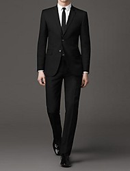 Men's Business Solid Color Single-breasted Two-button Suit(Blazer & Pants)