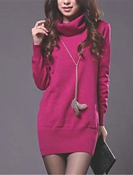 Women's High Collar Slim Long Sleeve Knit Pullover Sweater