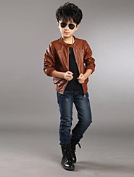 Boy's Fashion All Match Solid Color Long Sleeve Jacket