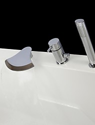 Contemporary Chrome Finish Three Holes Single Handle Waterfall Bathtub Faucet with Hand Shower