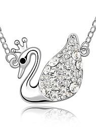 rainha cisne colar curto clássico revestida com 18k platina verdade clara cristalizada strass cristal austríaco
