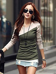 Women's  Slim  Fashion  Contrast  Color  T-shirt