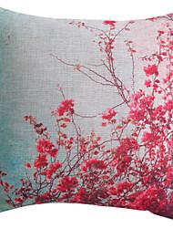 rouge vif motif de fleur taie d'oreiller en polyester