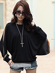 CoCo Zhang Women's Round Neck Loose Fit Long Sleeve Blouse