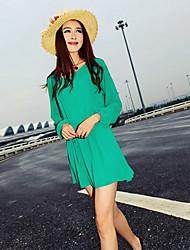 Ricci Women's Solid Color Long Sleeve Chiffon Dress