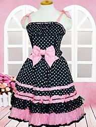 doce senhora sem mangas na altura do joelho escola de algodão preto e rosa vestido lolita