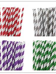 25 pcs éco-rayures paille papier potable