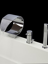 Contemporary Tub And Shower Waterfall / Handshower Included with  Ceramic Valve Single Handle Three Holes for  Chrome , Bathtub Faucet