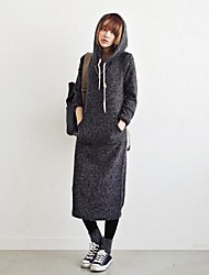 Women's Solid Gray Dress , Casual Hooded Long Sleeve