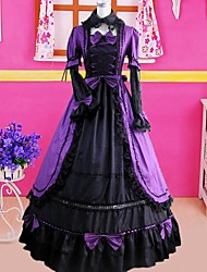 Long Sleeve Floor-length Purple Cotton Gothic Lolita Dress