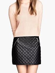 Women's Fashion Joker Quilt Plaid Zipper Leather Skirt