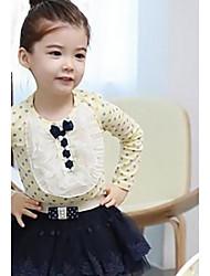 Mädchen dot Spitze mit langen Ärmeln Baumwolle T-Shirt koreanische Version