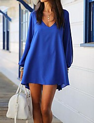 Women's Chiffon V-neck A-line Long Sleeve Dresses