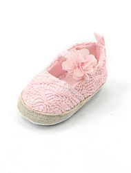 Girls' Flats Spring Fall First Walkers Fabric Wool Outdoor Casual Flat Heel Flower Pink