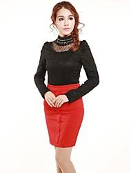 incern®women die Perlen ausgestattet Spitze Samt Bluse (mehr Farben)