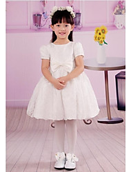 White Round Neck Short Sleeves First Communion Dress Bowknot