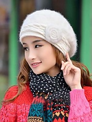 Women's Fashion Joker Flowers Rabbit Hair Beret Hat