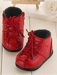 Baby Shoes Informale Pelle Stivali Nero/Rosso