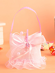 Lace Basket with Bowknot Favor Bag-Set of 12(More Colors)