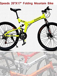 "Rockefeller ™Folding Cycling  21 Speeds Double Disc Brake 26"" X17""Mountain Bike 60 Spokes Wheel"