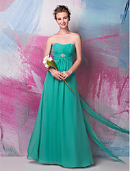 Floor-length Chiffon Bridesmaid Dress - Sheath / Column Sweetheart with Beading / Draping / Side Draping / Ruching