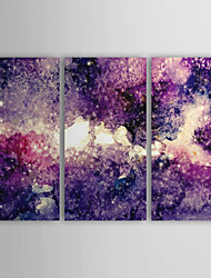 Oil Painting Abstract Purple Tone with Stretched Frame Set of 3 1309C-AB0846 Hand-Painted Canvas