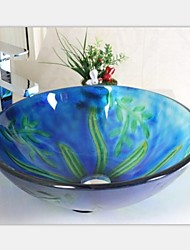 Contemporary Underwater World Tempered Glass Vessel Sink With Faucet Set