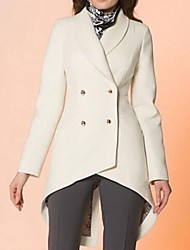 Women's White Trench Coat , Casual Long Sleeve Cotton/Organic Cotton/Wool Blends