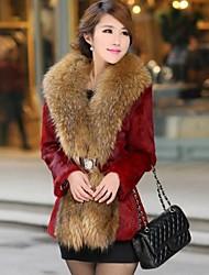 Women 's European  Raccoon Fur  Loose Long Coat