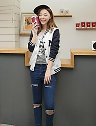 Women's Round Collar Patchwork Loose Jacket