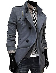 Men's Casual/Daily Street chic Coat,Solid Stand Long Sleeve Fall / Winter Black / Gray Cashmere / Wool / Acrylic / Polyester Thick