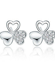 Weiyinyuan Vintage Sterling Silver Crystal Rhinestone Clover Earrings