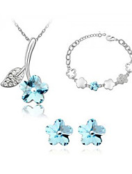 SARAH Women's  Cherry Blossom Crystal Necklace Earrings And Bracelet Three Piece Set