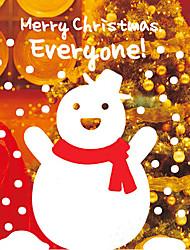 "Merry Christmas Lovely Cartoon Greeting Snowman Window Sticker (14.52""W × 20.88""L)"