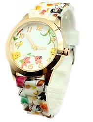 reloj de pulsera de cuarzo de banda de silicona de colores patrón de flores de la moda de las mujeres